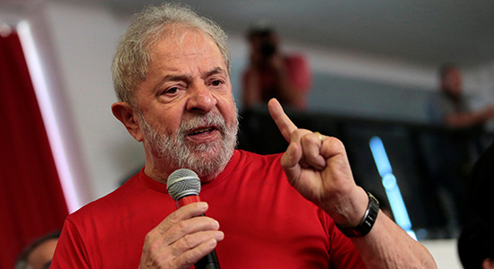 Former Brazilian President Luiz Inacio Lula da Silva speaks at the metallurgical trade union while the Brazilian court decides on his appeal against a corruption conviction, in Sao Bernardo do Campo